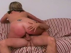 Tall tow-haired stud Jay with hot body and long rock hard cock gets seduced by full figured tow-haired cougar Marie with gigantic juicy tits and cheep tattoo on lower back.