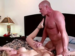 Experienced fucker Mark Davis with stiff dick and shaved head fucks hard heavy chested cheating blonde milf Julia Ann and Vanessa Hutch confine on by one all over the bedroom.