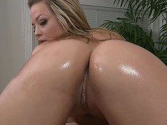 Naked blonde whore Alexis Texas with jaw dropping round ass and cheep heavy make up gives mind blowing massage with her tits to handsome Jordan Ash in close up.