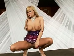 Wonderful blonde babe with smoking hot boobies Dorothy Black is masturbating on tape, showing everything she has under her tight cloths. Enjoy the hot video.