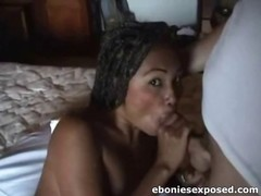 Amateur Ebony GF Sucks Cock