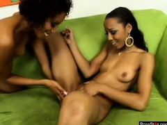 With wild lesbian desires to explore, Krystal Wett and Misty Stone meet up on the sofa