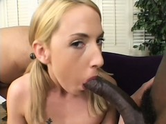 Blonde chick gives it up to two black studs, blows and gets a piledriver fucking
