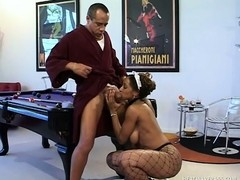 Naughty ebony maid in fishnet pantyhose surrenders her hot body to her horny boss