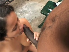 Attractive Latina Amanda De Silva has her lips working their magic on a black dick