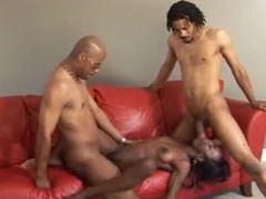 Skinny black girl loves ebony threesome