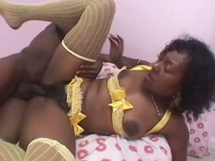Domineer Ebony Babe Sucks and Fucks Her BF's Big Black Cock In Lingerie