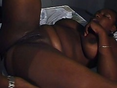 Busty ebony in pen let out to near squeak pussy and fuck